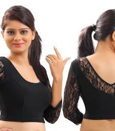 Buy Black Lace(net will vary slightly) crochet stretchable blouse and crop top readymade-blouse online