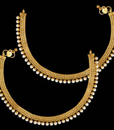 Buy Ethnic Indian Bolywood Jewelry Set Pearl Polki Golden Anklet Payal Set anklet online