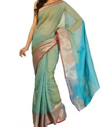 Buy Supernet cotton zari border saree cotton-saree online