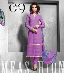 Buy Purple embroidered georgette semi stitched salwar with dupatta party-wear-salwar-kameez online