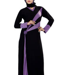 Buy Black Stone Worked Readymade Burka lycra-abaya online