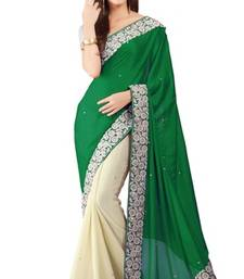 Buy Green embroidered crepe saree with blouse crepe-saree online