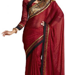 Buy Maroon embroidered Crepe saree with blouse crepe-saree online