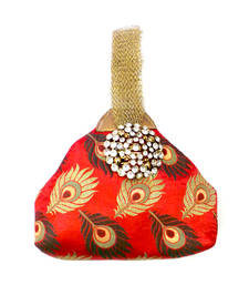 Buy Triangle Brocade Potli with Tissue Strap (Red) potli-bag online
