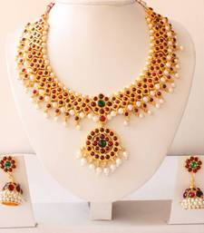 Buy BEAUTIFUL UNIQUE GOLD TONE PEARL ROYAL TEMPLE NECKLACE WITH MATCHING EARRINGS necklace-set online