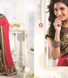 Buy Red and Black embroidered viscose saree with blouse viscose-saree online
