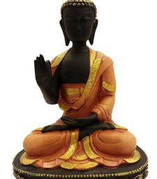 Buy Meditating Buddha Idol in Brown sculpture online