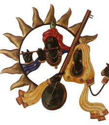 Buy Wrought Iron Wall Hanging Radha playing iktara Krishna playing bansuri wall-decal online