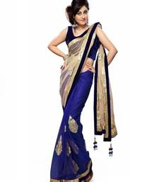 Buy Blue and beige Embroidered net saree with blouse ethnic-saree online