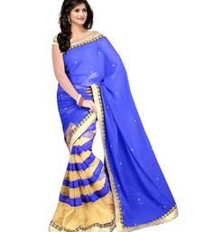 Buy Blue and beige plain Net saree with blouse net-saree online