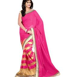 Buy Pink and beige Embroidered Net saree with blouse net-saree online