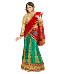 Buy Green and Red Embroidered Net unstitched lehenga-choli navratri-lehenga-chaniya-choli online
