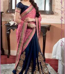Buy Stylish Navy blue and pink color branded designer saree bollywood-saree online