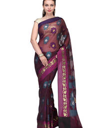 Buy Brown woven cotton silk saree with blouse banarasi-saree online