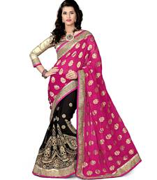 Buy Pink and Black embroidered viscose saree with blouse half-saree online