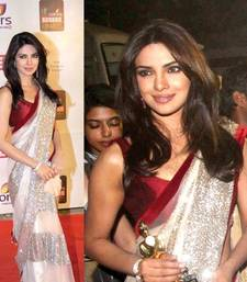 Buy off_white embroidered net saree with blouse priyanka-chopra-saree online