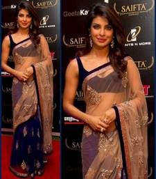 Buy beige and violet embroidered net saree with blouse priyanka-chopra-saree online