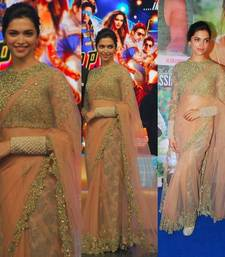 Buy beige embroidered net saree with blouse deepika-padukone-saree online
