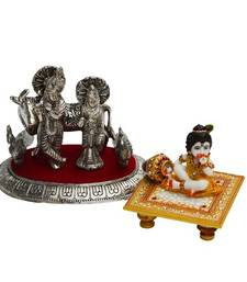 Buy Set of Radha Krishna Statue and Laddu Gopal on Marble chowki thanksgiving-gift online