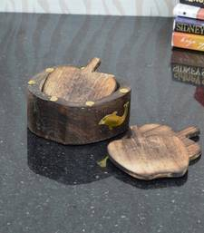 Buy Wooden Apple Design Tea Coasters birthday-gift online