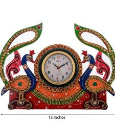 Buy Peocock Design Decorative Papier-Mache Wooden Wall Clock wall-clock online