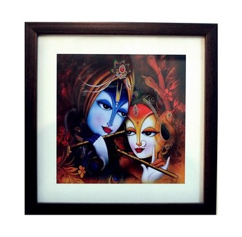 Buy Radha Krishna Satin Matt Texture Framed UV Art Print