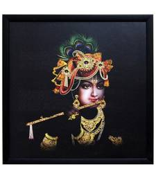 Buy Krishna Playing Flute Satin Matt Texture Framed UV Art Print painting online
