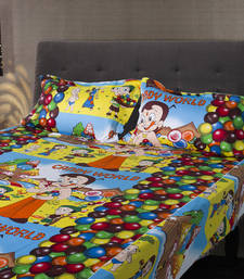 Buy Chota Bheem Kids Double Bedsheet with 2 Pillow Cover bed-sheet online