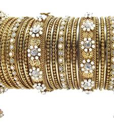 Buy gold plated pearl cz 32pc bangle chuda bangles-and-bracelet online