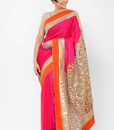 Buy Pink embroidered satin saree with blouse wedding-saree online