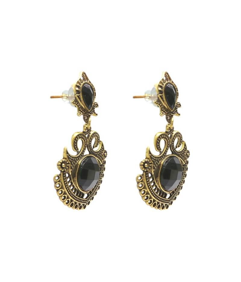 Black Stone Earrings: Buy Gold Oxidised Black Stone Earrings (Style-2) Online