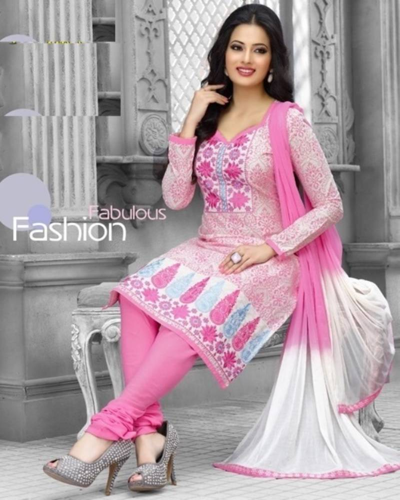 Buy radiant cotton embroidered salwar suit dress material