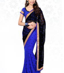 Buy Black and Blue printed georgette saree with blouse printed-saree online