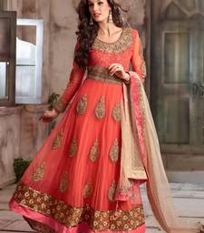 Buy orange embroidered net semi stitched salwar with dupatta anarkali-salwar-kameez online