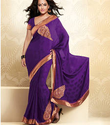 Buy Violet embroidered CREPE saree with blouse crepe-saree online