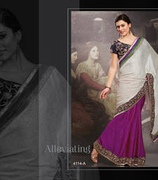 Buy White and Violet embroidered jacquard saree with blouse jacquard-saree online