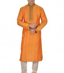 Buy YELLOW SELF DESIGN MIX DOPIAN KURTA PAYJAMA kurta-pajama online