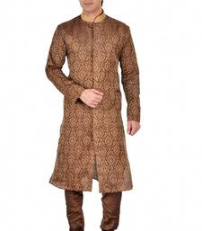 Buy BROWN SELF DESIGN JACQUARD KURTA PAYJAMA kurta-pajama online