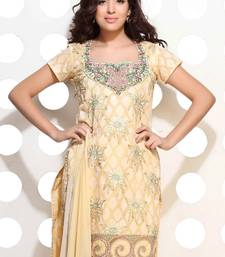 Buy A lemon Yellow cotton jacquard embroidered suit dress-material online