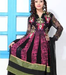 Buy Black and Pink faux georgette printed suit dress-material online