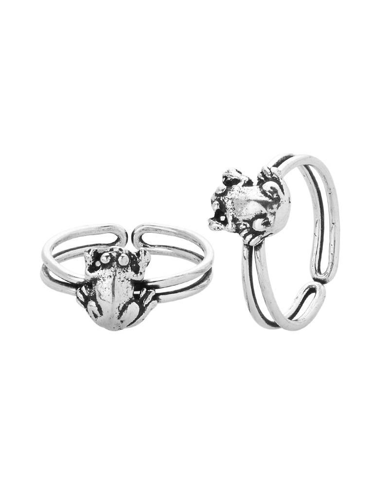 buy silver plated toe rings with unique frog design