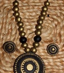 Buy Black and antique gold Terracotta jewellery necklace-set online