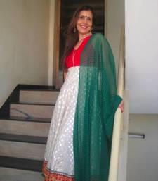 Buy Red, Off-white & Green Anaarkali salwars-and-churidar online