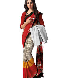 Buy Off White and Red printed silk saree with blouse silk-saree online