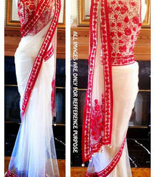 Buy pink and white Thread work net saree with blouse birthday-gift online