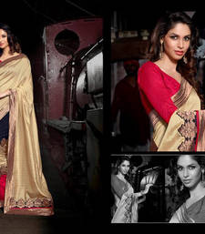 Buy Beige  patch work dupion jute saree with blouse jute-saree online