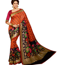 Styloce Exclusive Foil Work Bhagalpuri Silk Saree (Multicolor) shop online