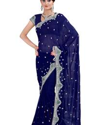 Buy Navy Blue  embroidered georgette saree with blouse heavy-work-saree online