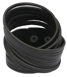 Buy Multi Strand Black Handcrafted Genuine Leather Strand Bracelet for Men Bracelet online
