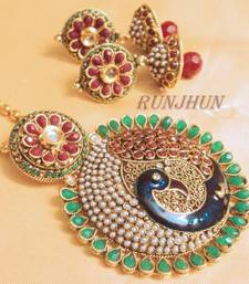 Buy broad peacock pendent set with chain necklace-set online